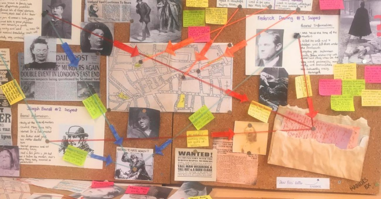 "Producing ""Crime Boards"" to highlight connections / contrasts"