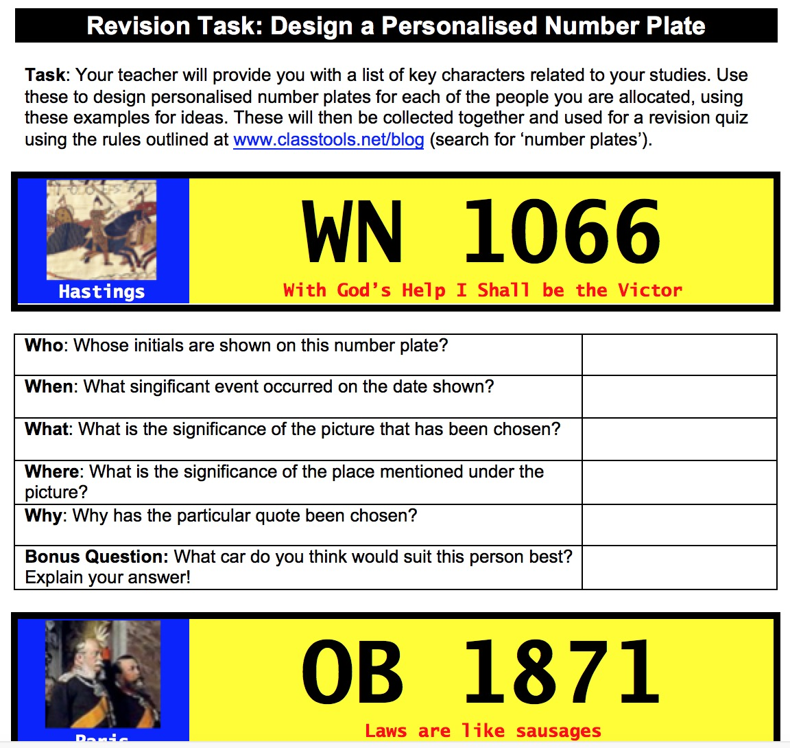 Design personalised number plates as a revision exercise