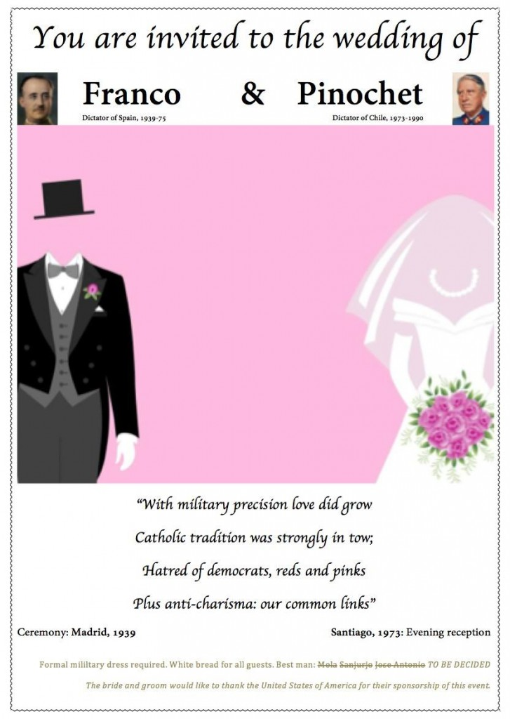 Wedding invitation: Franco and Pinochet