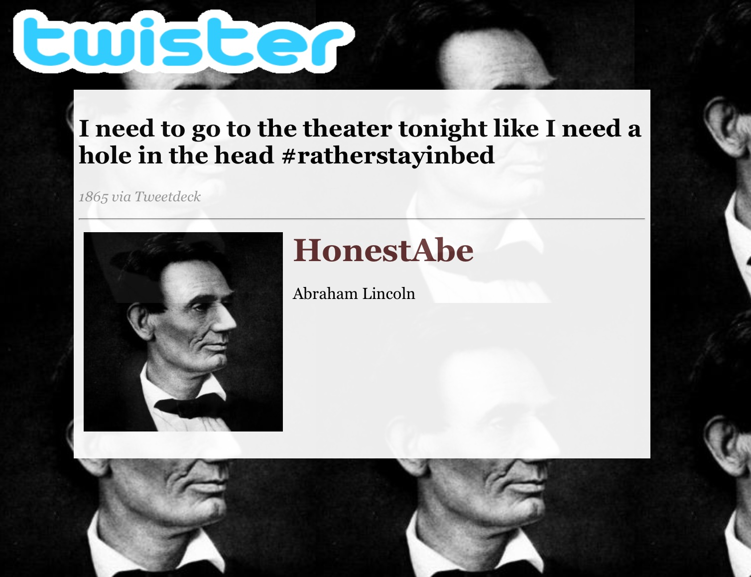 Create a tweet for a fictional/historical character